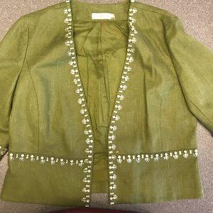Tory Burch olive linen cropped jacket embellished